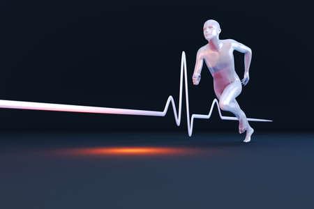 electrocardiograma: La medici�n de las propiedades de fisiolog�a en un corredor Ilustraci�n 3D prestados