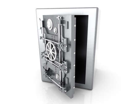 iron defense: A open bank safe  3D rendered Illustration  Isolated on white