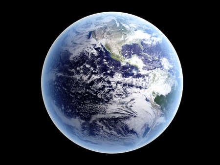Planet earth, isolated on black  3D rendered illustration  Banque d'images