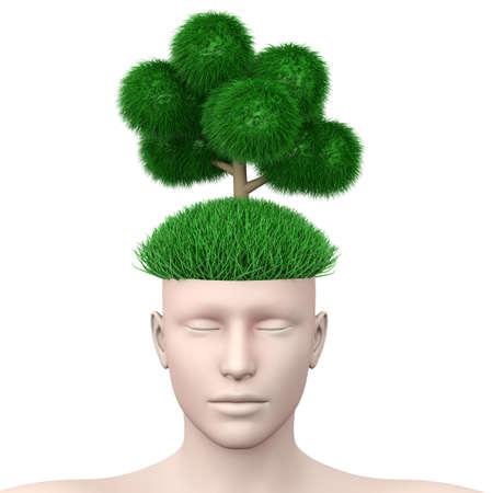 think green: Piensa en verde 3d rindi� la ilustraci�n aislado en blanco