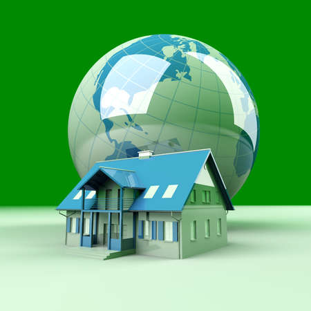 immigrate: Real estate arround the World  3D rendered Illustration   Stock Photo
