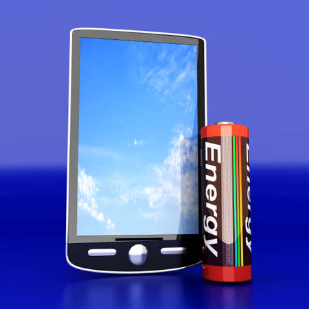 A generic Smartphone with a Battery  3D rendered illustration  illustration