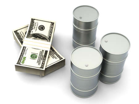 barrell: A oil barrell with Dollar notes  3D rendered Illustration  Isolated on white  Stock Photo