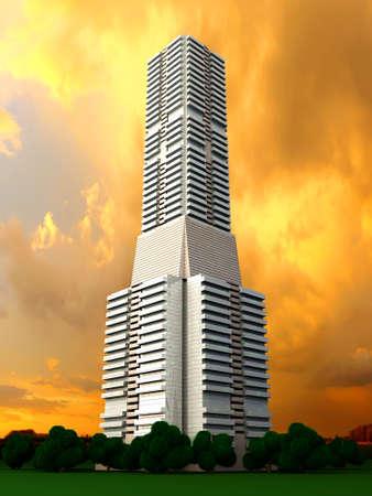 A contemporary skyscraper  3D rendered Illustration  illustration
