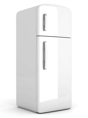 A classic Fridge  3D rendered Illustration  Isolated on white