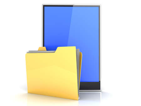 A Tablet PC   Pad device  3D rendered illustration  Isolated on white Stock Illustration - 13550418