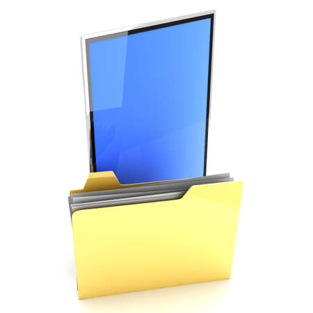 A Tablet PC   Pad device  3D rendered illustration  Isolated on white Stock Illustration - 13550404