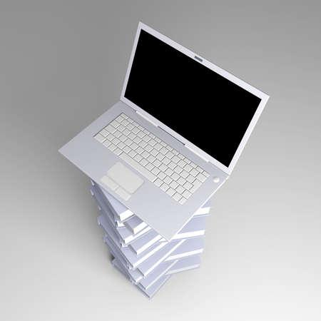 A Laptop with books  3D rendered illustration    illustration