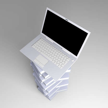 A Laptop with books  3D rendered illustration    illustration