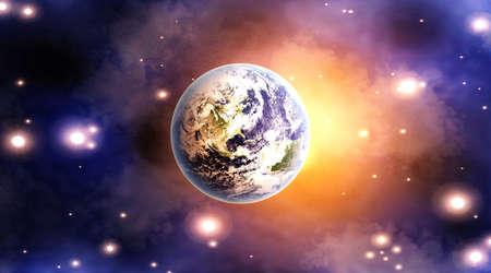 Dawn on Planet earth  3D rendered Illustration  illustration