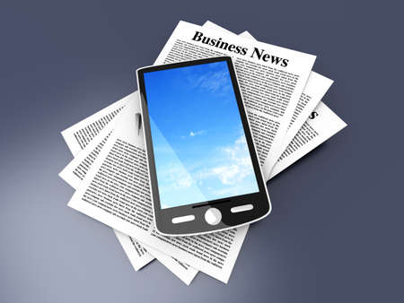 A smartphone in the latest business news  3d rendered Illustration   illustration