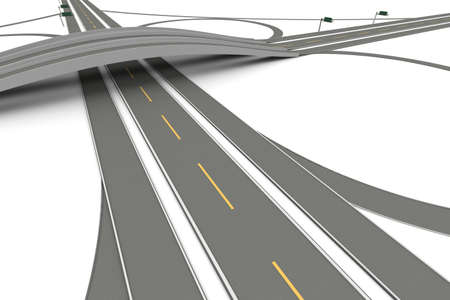 A Highway interchange  3D rendered Illustration  Isolated on white  Stock Photo