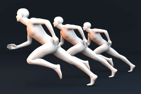 Three competing runners  3D rendered Illustration  illustration