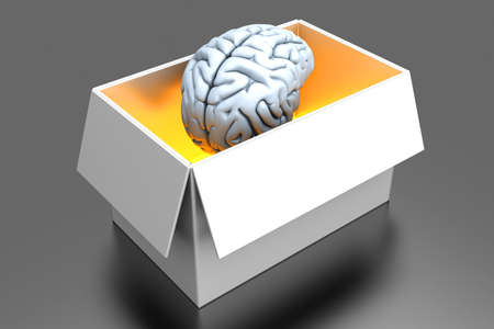 Brain out of the box  3D rendered Illustration   illustration