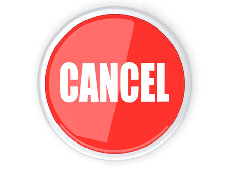 A cancel button  3D rendered illustration  Isolated on white  Stock Illustration - 13858939