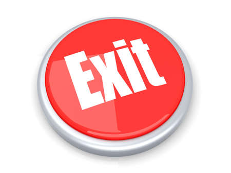 abort: A exit button  3D rendered illustration  Isolated on white  Stock Photo