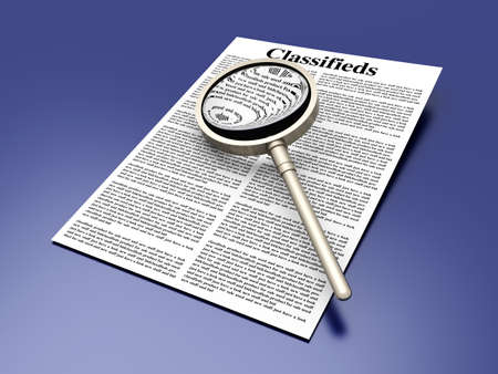 3D rendered Illustration  A sheet of classifieds Stock Illustration - 13846270