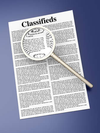 3D rendered Illustration  A sheet of classifieds Stock Illustration - 13846251