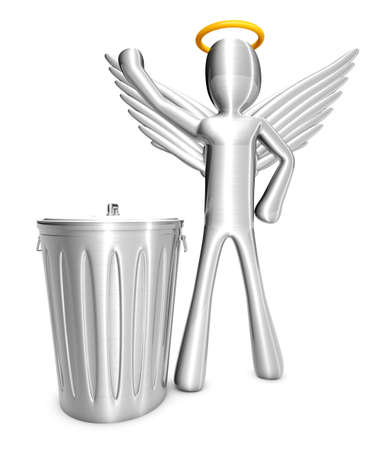 eliminate: A cartoon angel isolated on white  3D rendered Illustration