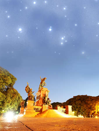 composition of the Monument of General San Martin in Buenos Aires, Argentina  Huge starfield on the nightsky