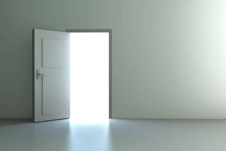 open gate: A open door in a empty room  3D rendered illustration