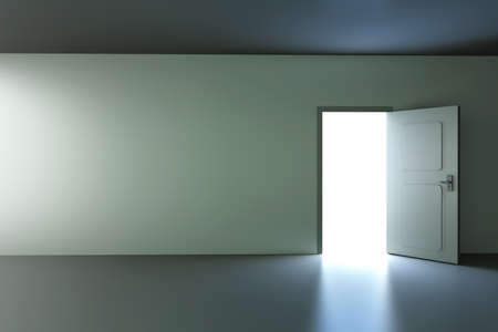 A open door in a empty room  3D rendered illustration  illustration
