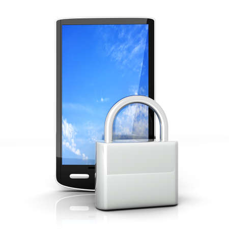 A locked smartphone  3D rendered illustration isolated on white Stock Illustration - 13859173