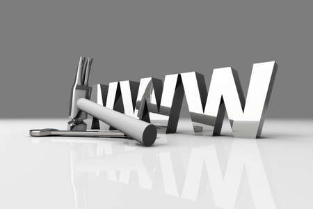 wehosting: 3D Illustration  Website is under construction    Stock Photo