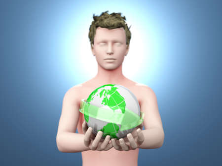 el mundo en tus manos: Sosteniendo el mundo en sus manos 3d rindi� la ilustraci�n Foto de archivo