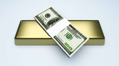 commodities: Commodities and cash investments  3D rendered Illustration