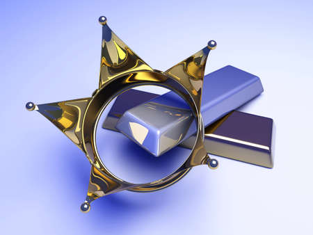 gold bar earn: A crown with gold and silver  3D rendered illustration