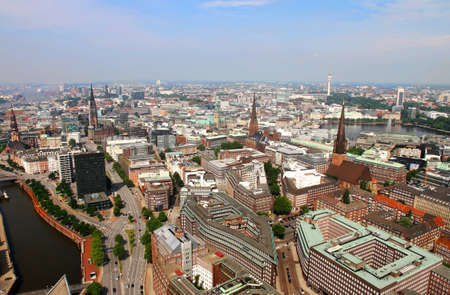 Aerial view of the city of Hamburg in Germany  photo