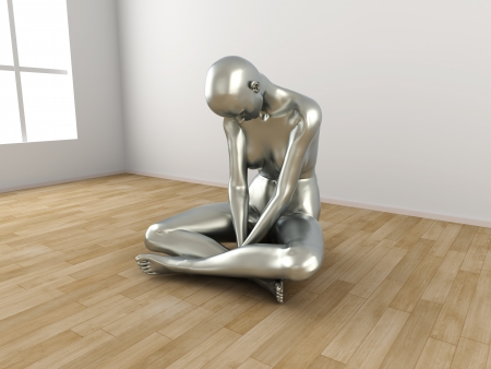 miserable: Abstract 3D rendered illustration of a depressed woman   Stock Photo