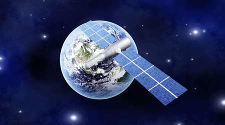 global navigation system: A satellite orbiting over the earth  3D rendered Illustration