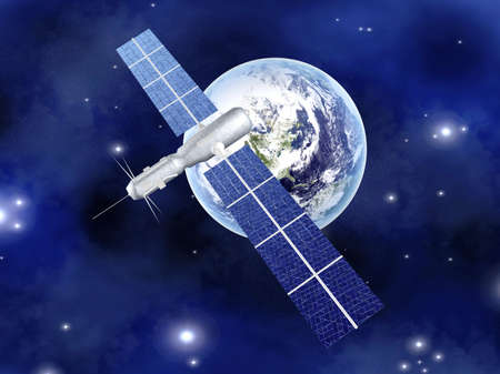 space station: A satellite orbiting over the earth  3D rendered Illustration