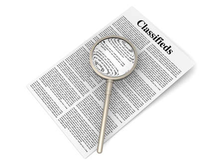 classified ads: 3D rendered Illustration  A sheet of classifieds  Isolated on white