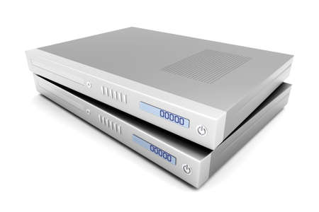 tv unit: Two generic bluray   DVD devices  3D rendered Illustration