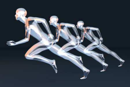 body line: Three competing runners  3D rendered Illustration