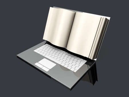 A digital book  on a laptop screen  Symbolic 3D rendered Illustration  Stock Photo