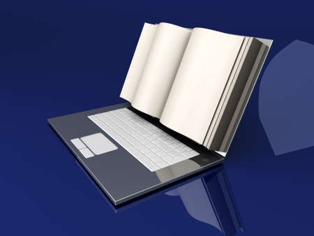 lookup: A digital book  on a laptop screen  Symbolic 3D rendered Illustration  Stock Photo