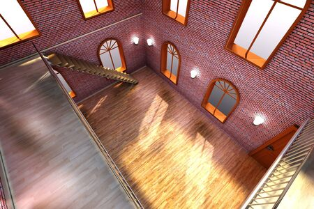 Architecture visualization of a Loft interior  3D rendered Illustration  illustration