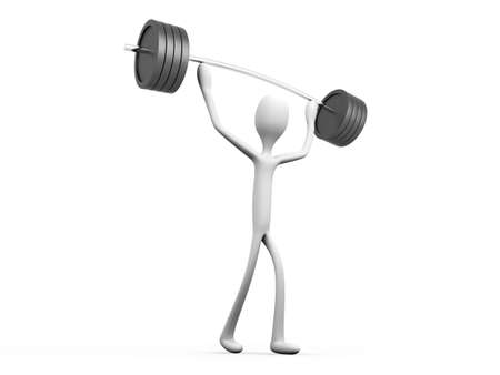 lifter: A cartoon weight lifter  3D rendered Illustration  Isolated on white