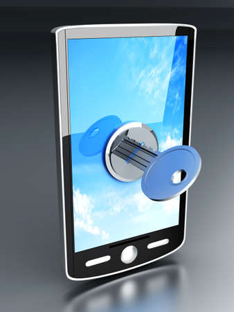 A locked smartphone  3D rendered illustration   Stock Illustration - 14848437