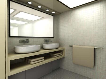 3D rendered Illustration  Modern Bathroom interior visualisation  illustration