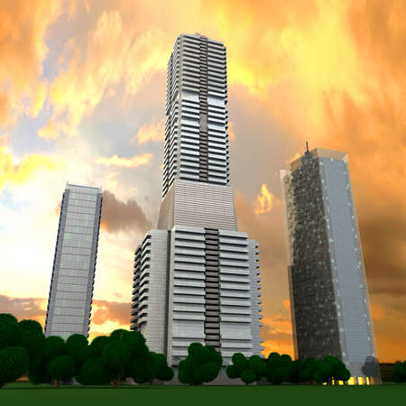 A contemporary skyscraper  3D rendered Illustration Stock Illustration - 14940025