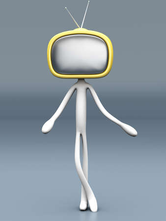TV Head  3D rendered cartoon illustration    illustration