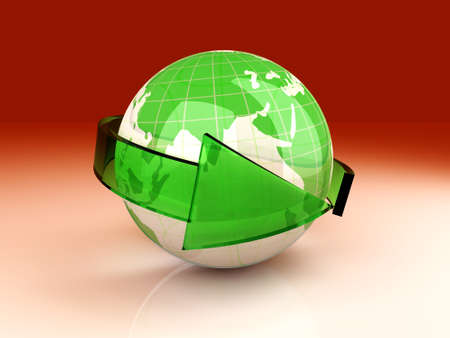 international recycle symbol: Symbol for global ecology and recycling  3D rendered illustration