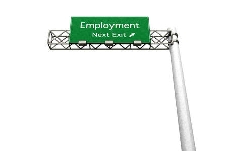 3D rendered Illustration  Highway Sign next exit to employment    Stock Illustration - 14939987