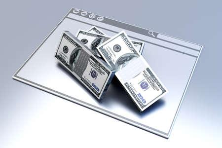 Dollars in a Browser window  3D rendered illustration  illustration
