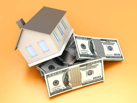 Money and Real estate  3D rendered illustration  illustration